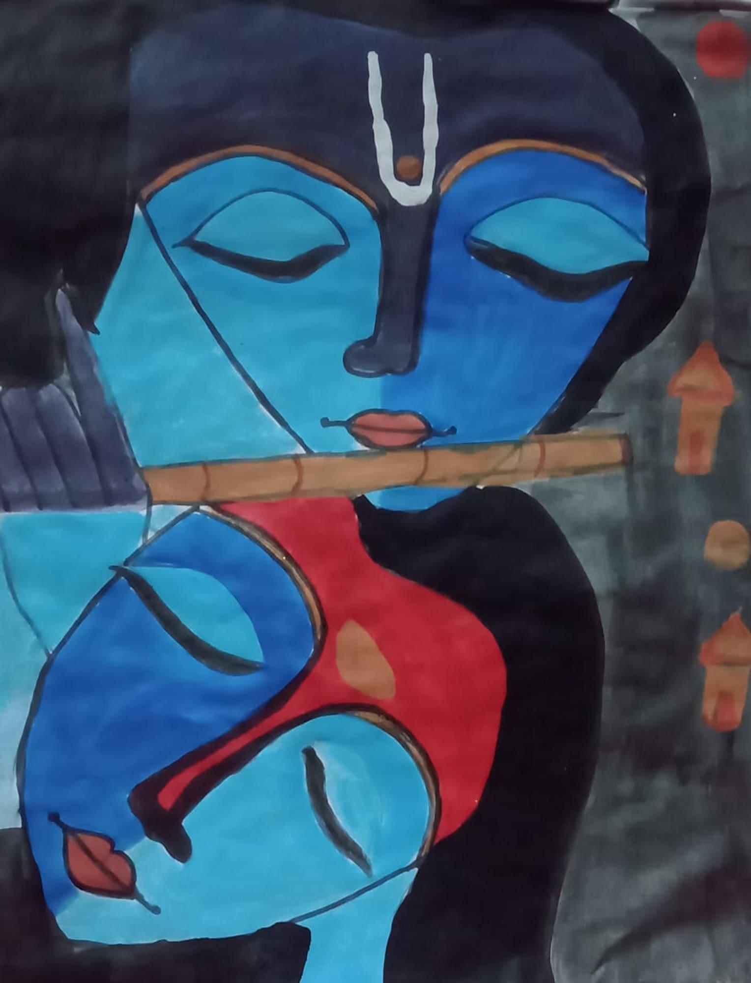 Painting of faces by Nisha Kumari