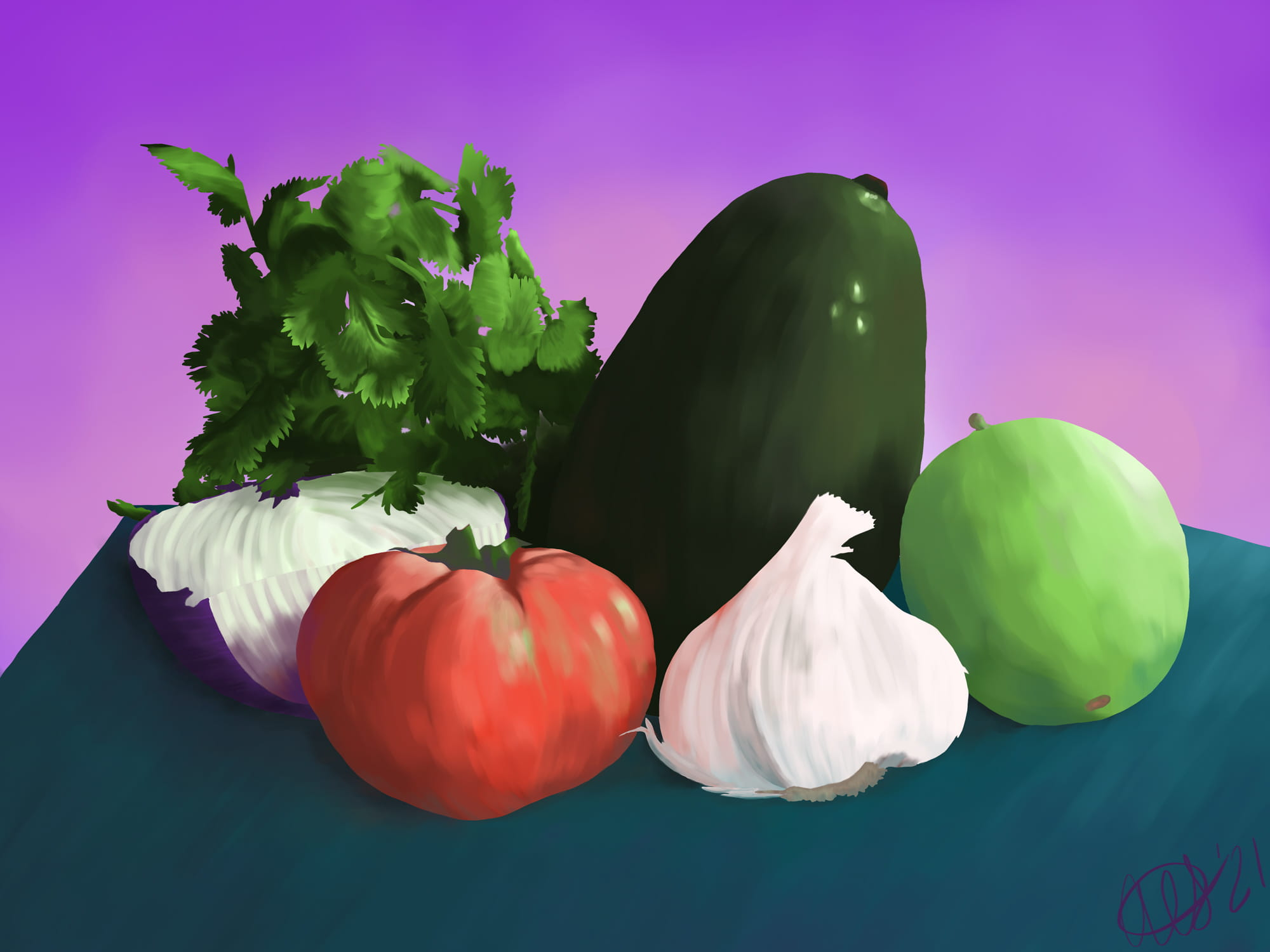 Still life of vegetables by Andrea Savage