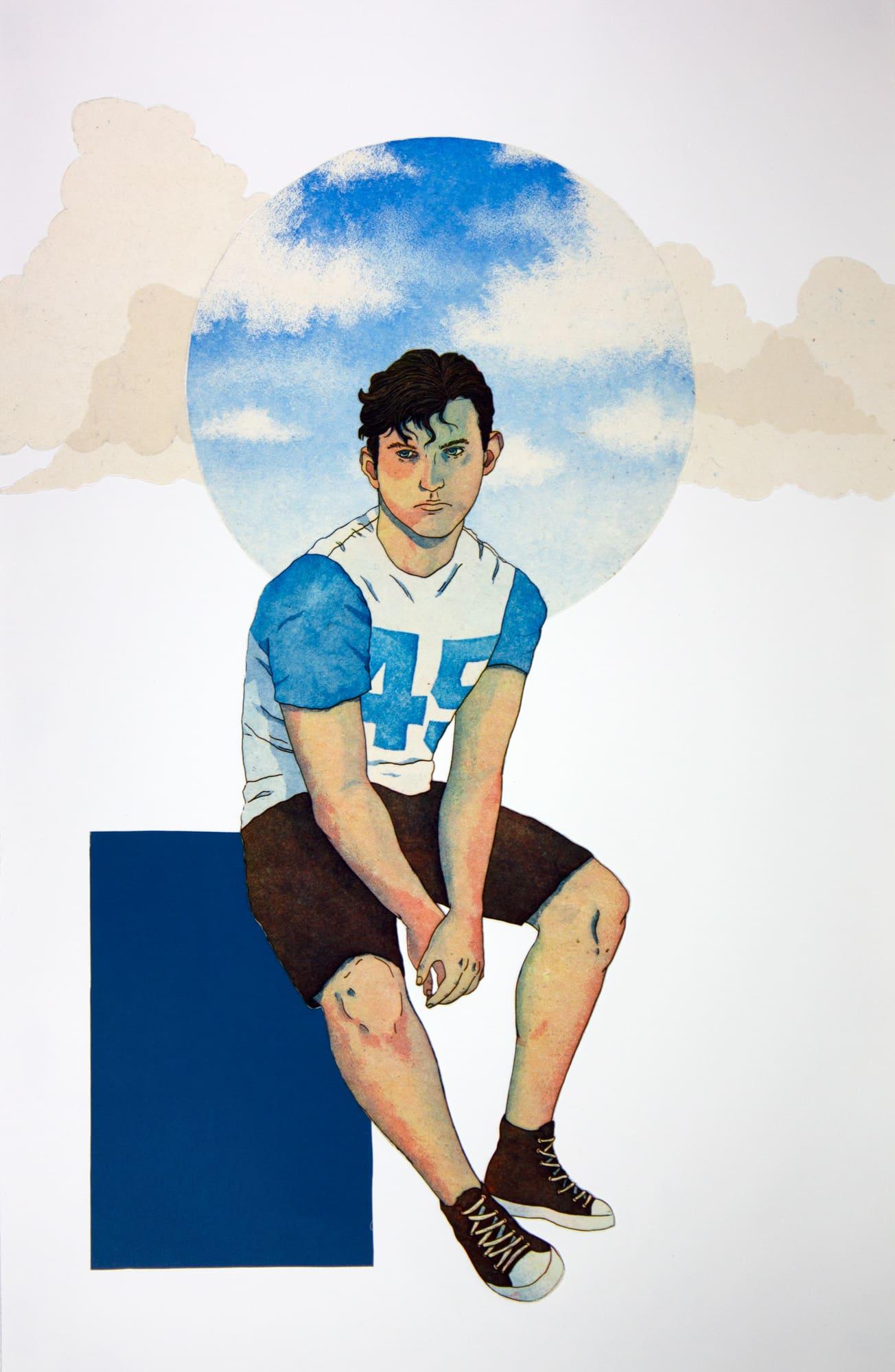 Print of a person sitting on a block by Kawelina Cruz