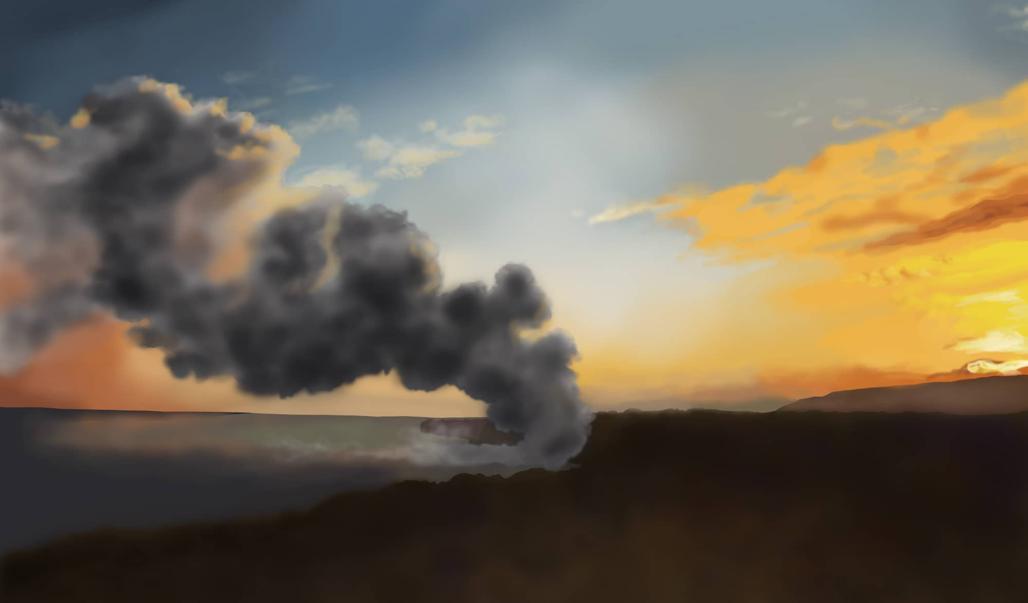 Digital painting of lava reaching the sea - Kūkulu Ka Pahu - by Kaoru Coakley
