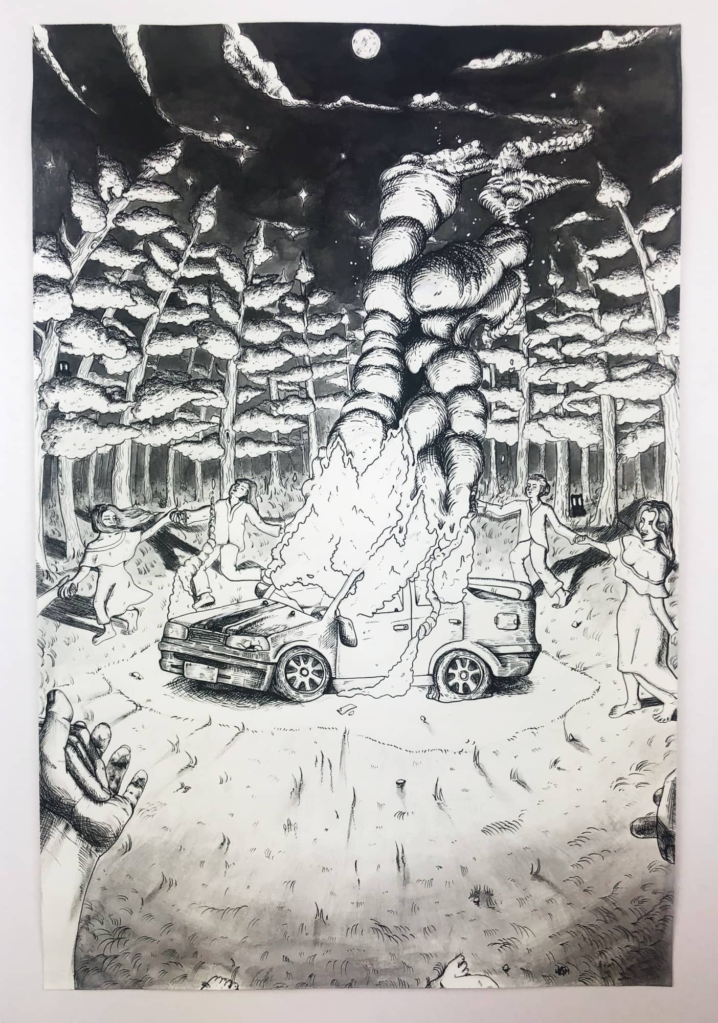 Drawing of a car on fire by Mia Lum