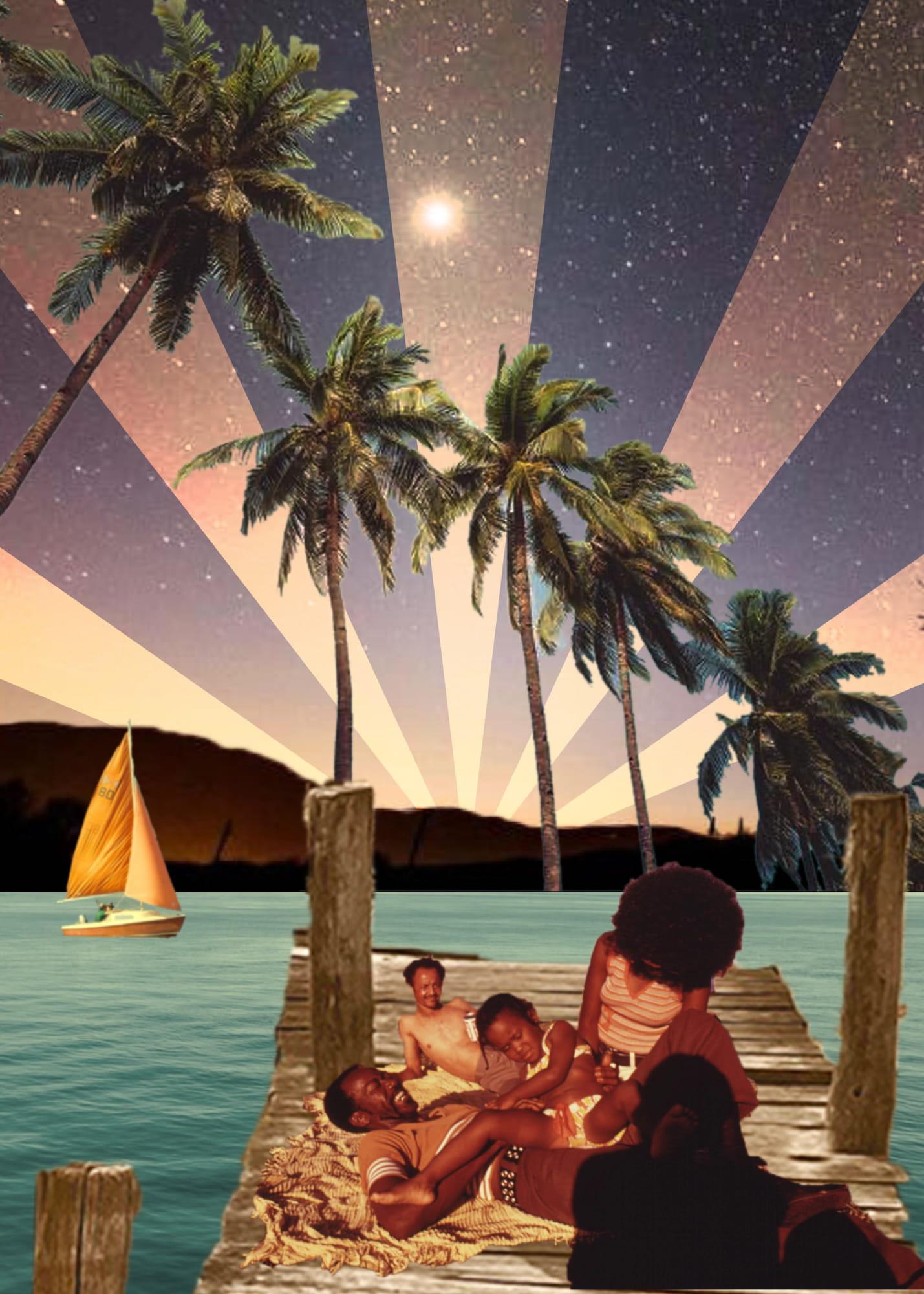 Digital collage of a scene by the ocean by Lauren Lakin