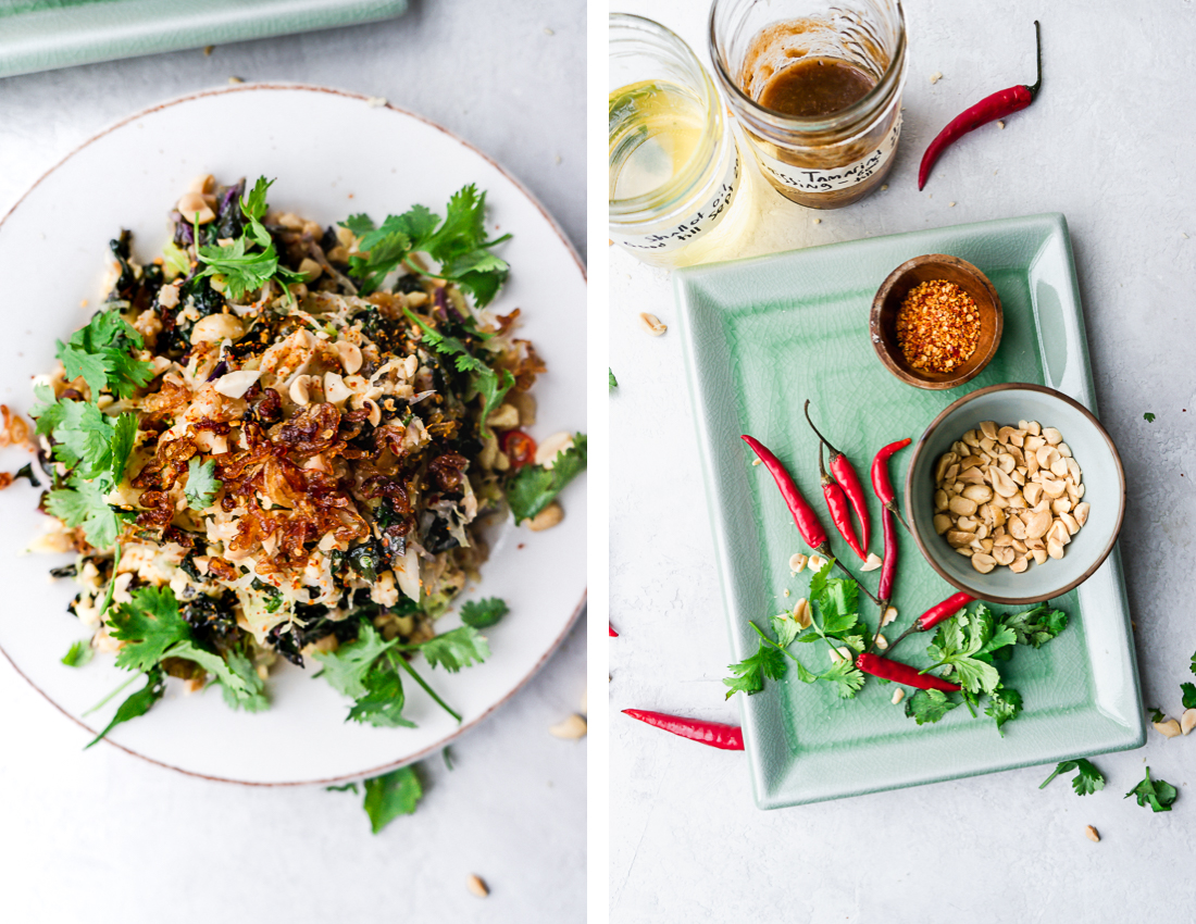 Split image. On the left there is an overhead shot of a tofu salad. On there right there are the ingredients. Peppers, peanuts and crushed chilis.
