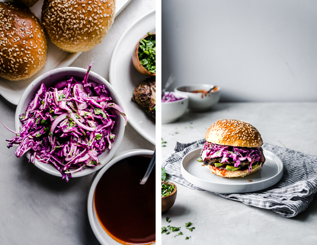 On the left, there is a creamy bowl of shredded cabbage. on the right a completed jerk chicken sandwich dripping with barbecue sauce.
