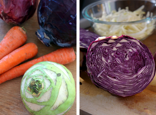 Dual pictures, a counter with kohlrabi, carrots and cabbage on one side, a cut-open red cabbage on the other