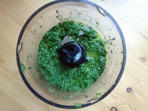 Food processor bowl with fresh basil oil