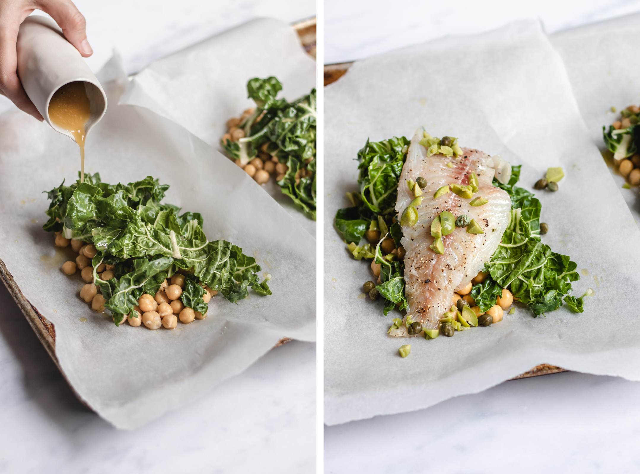 a split image. on the left chickpeas and greens with sauce being poured on them. on the right, a piece of fish laying on the bed of greens and chick peas.