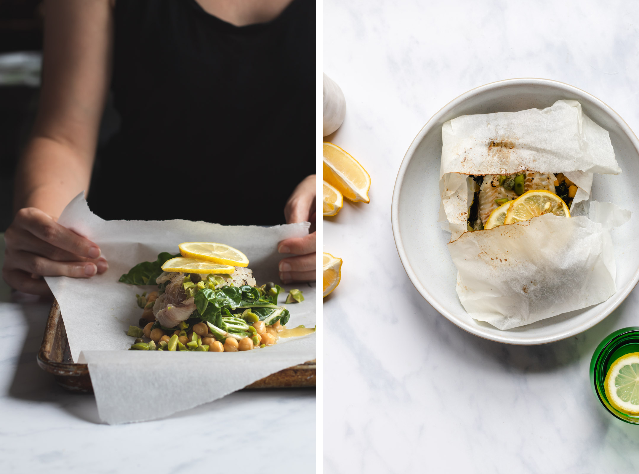 A Split image. On the left a woman wrapping a fish bundle with lemon, greens and chickpeas. The right image is the cooked package.