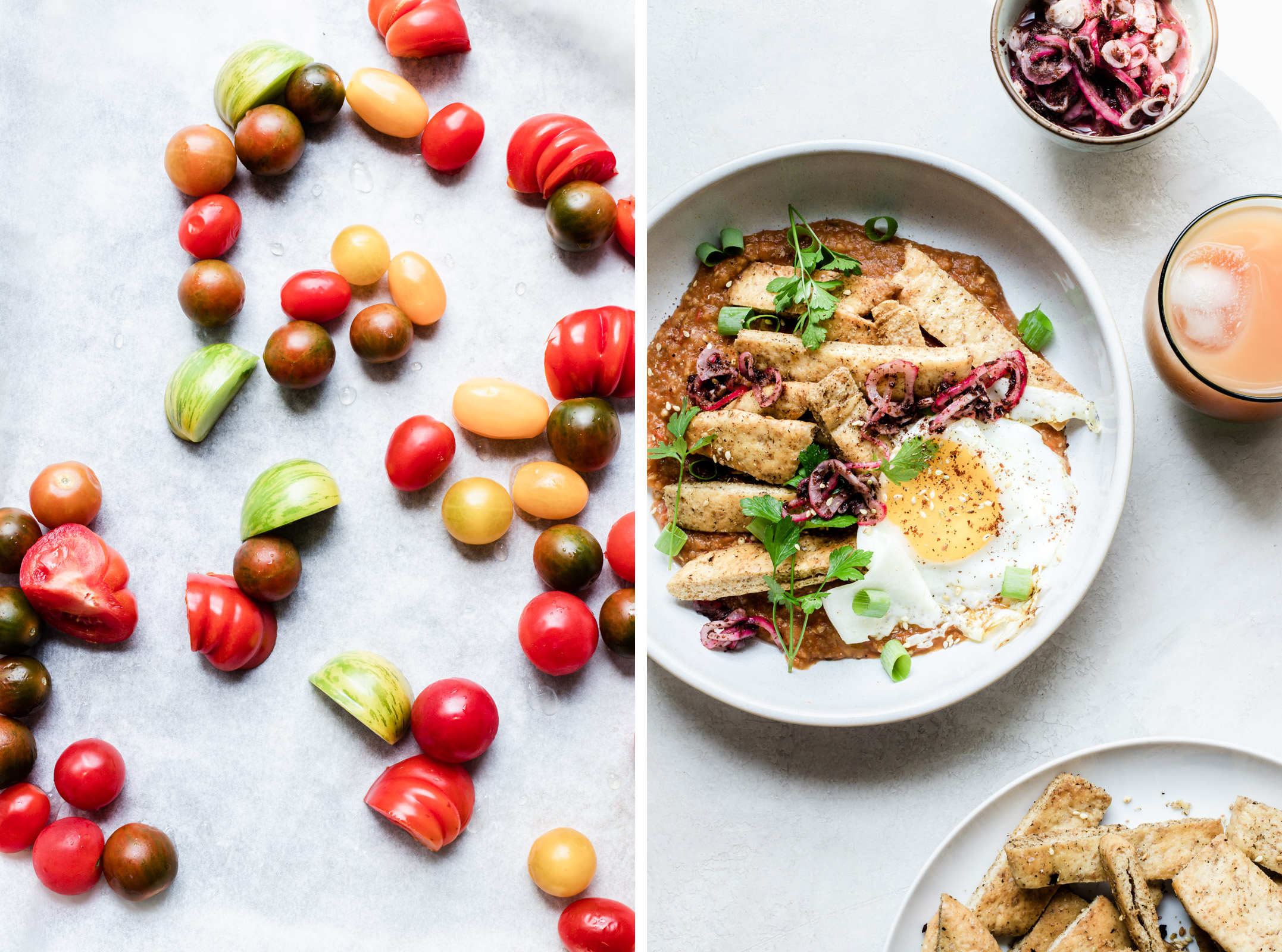 Dual image: assorted heirloom cherry tomatoes on the left, a bowl of eggplant pitaquiles with sumac onions on the right