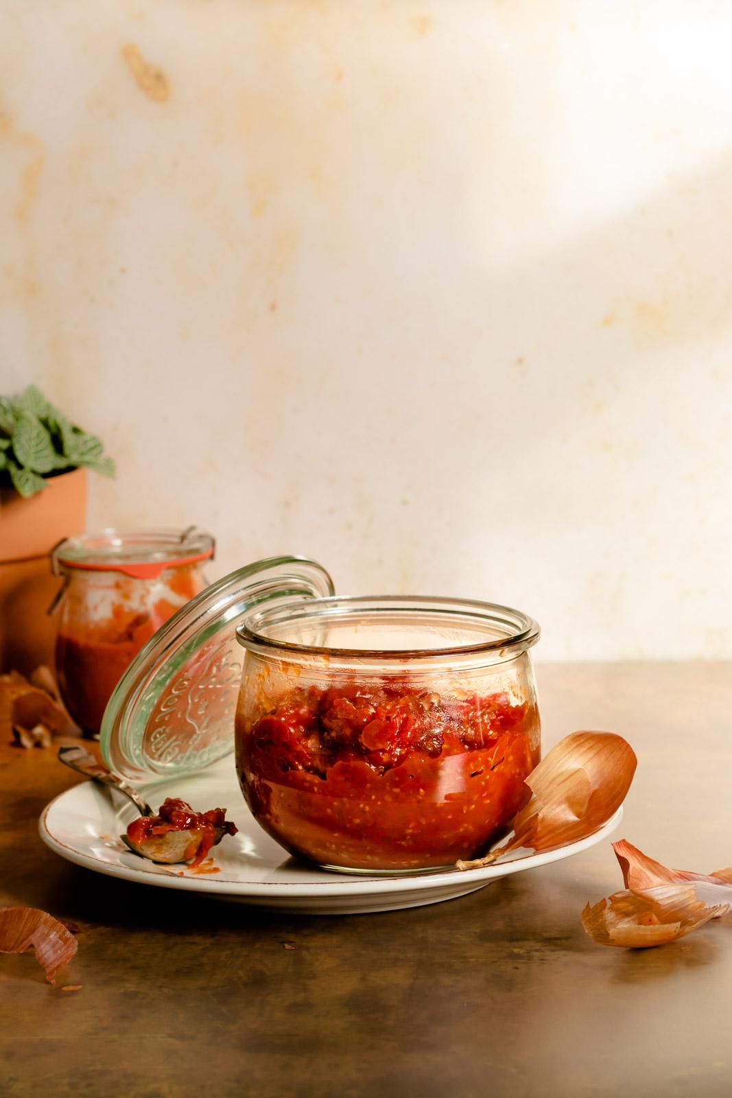 Cherry tomato harissa jam in a glass weck jar