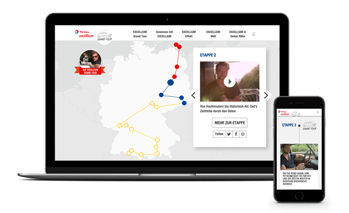 """TOTAL EXCELLIUM Grand Tour - die Map auf der die UserInnen Det Müller """"live"""" verfolgen konnten"""