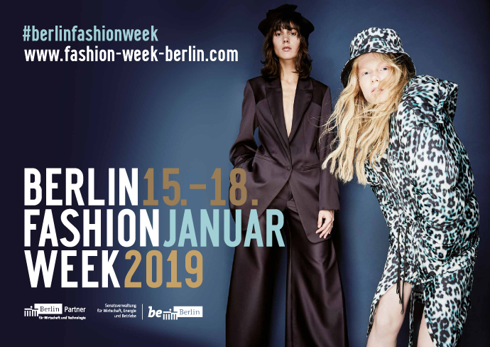 Keyvisual der Berlin Fashion Week Winter 2019, Zwei Models ausgestattet mit Mode von berliner Designern