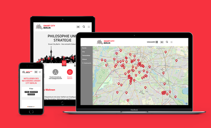 The new website for Smart City Berlin optimized for desktop and mobile usage