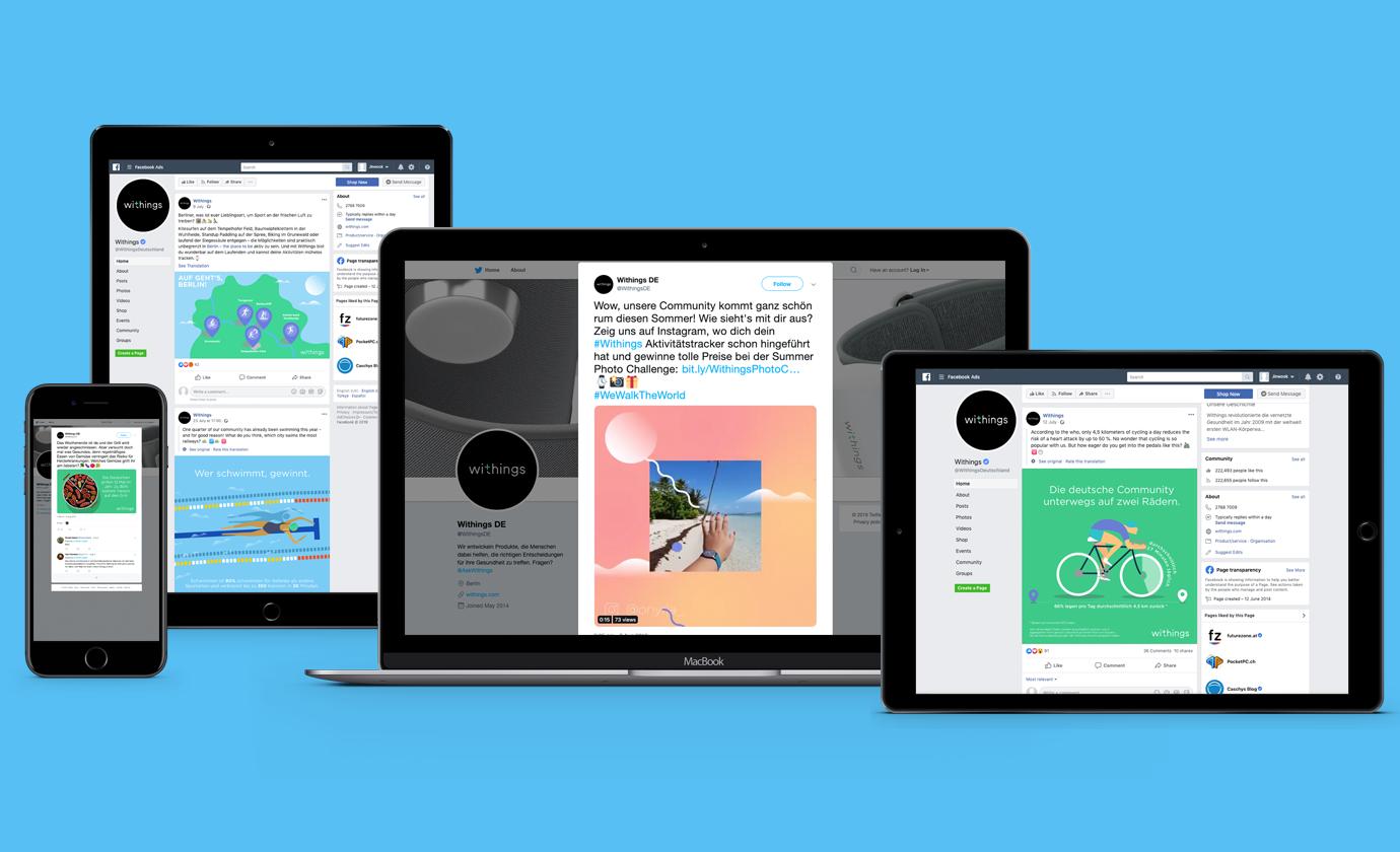 Social Media Assets für Withings auf Facebook. Bilder sowie grafische Darstellung zum Thema Gesundheit.