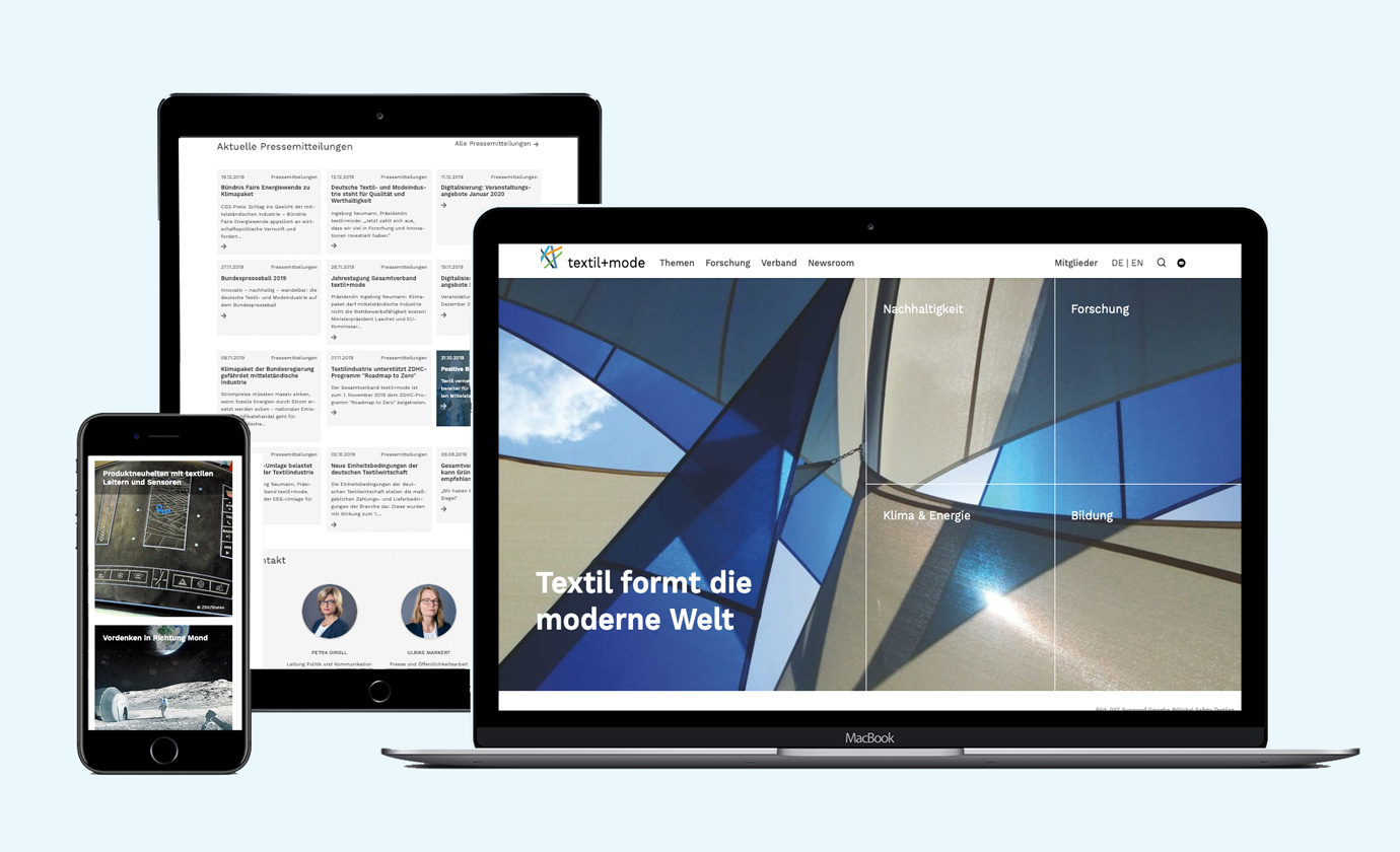 Der neue Webauftritt des Gesamtverbandes der Textil- und Modeindustrie auf Desktop, iPad und mobil.