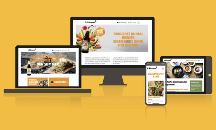 Die neue kikkoman.de Website auf desktop, iPad und mobil im neuen, frischen und modernen Look.