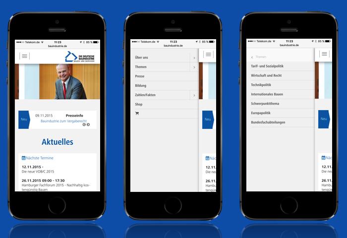 Website der Hauptverbandes der Deutschen Bauindustrie nach dem Relaunch in der responsiven Ansicht (mobil)