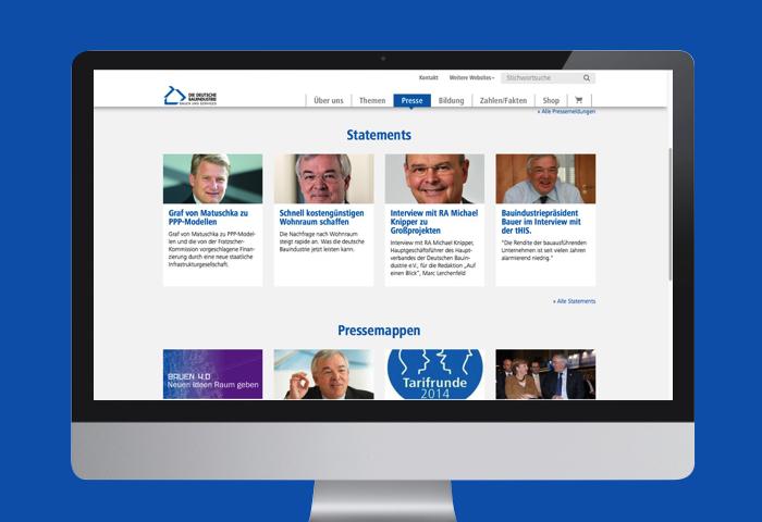 Website der Hauptverbandes der Deutschen Bauindustrie nach dem Relaunch als Desktop-Ansicht