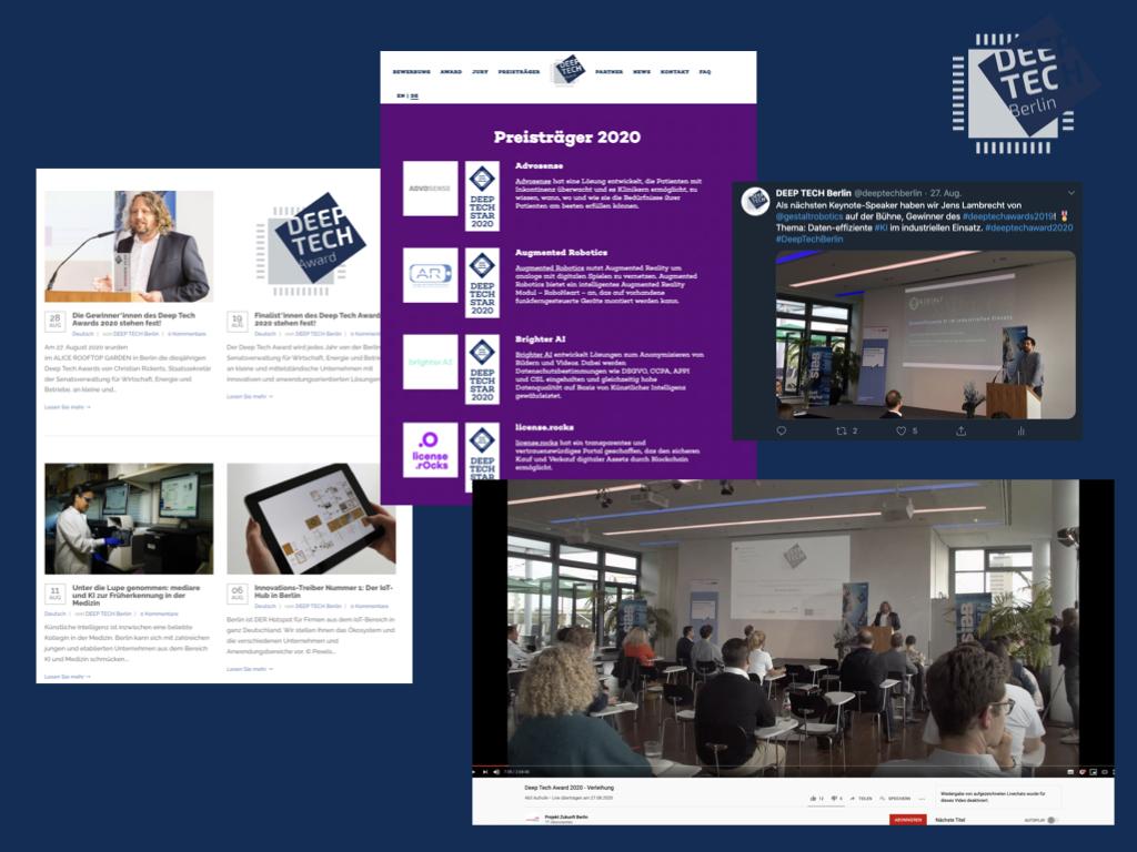 Visuals der Deep tech Berlin Kampagne, wie Website Blog, Award Seite, LinkedIn Post und Livestreaming zur Verleihung des Deep tech Awards 2020 in Corona-Zeiten.