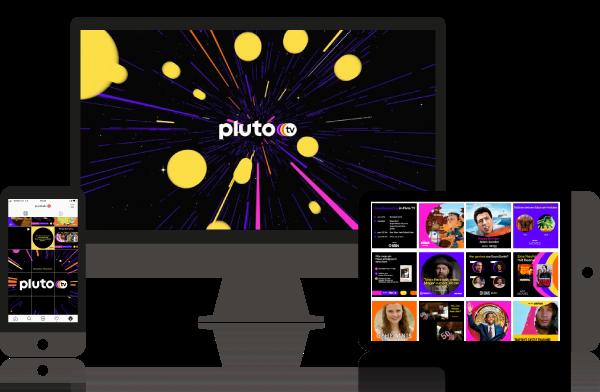 Pluto TV auf dem desktop, sowie die Social Media channels mit den verschiedenen Content-Posts auf Instagram.