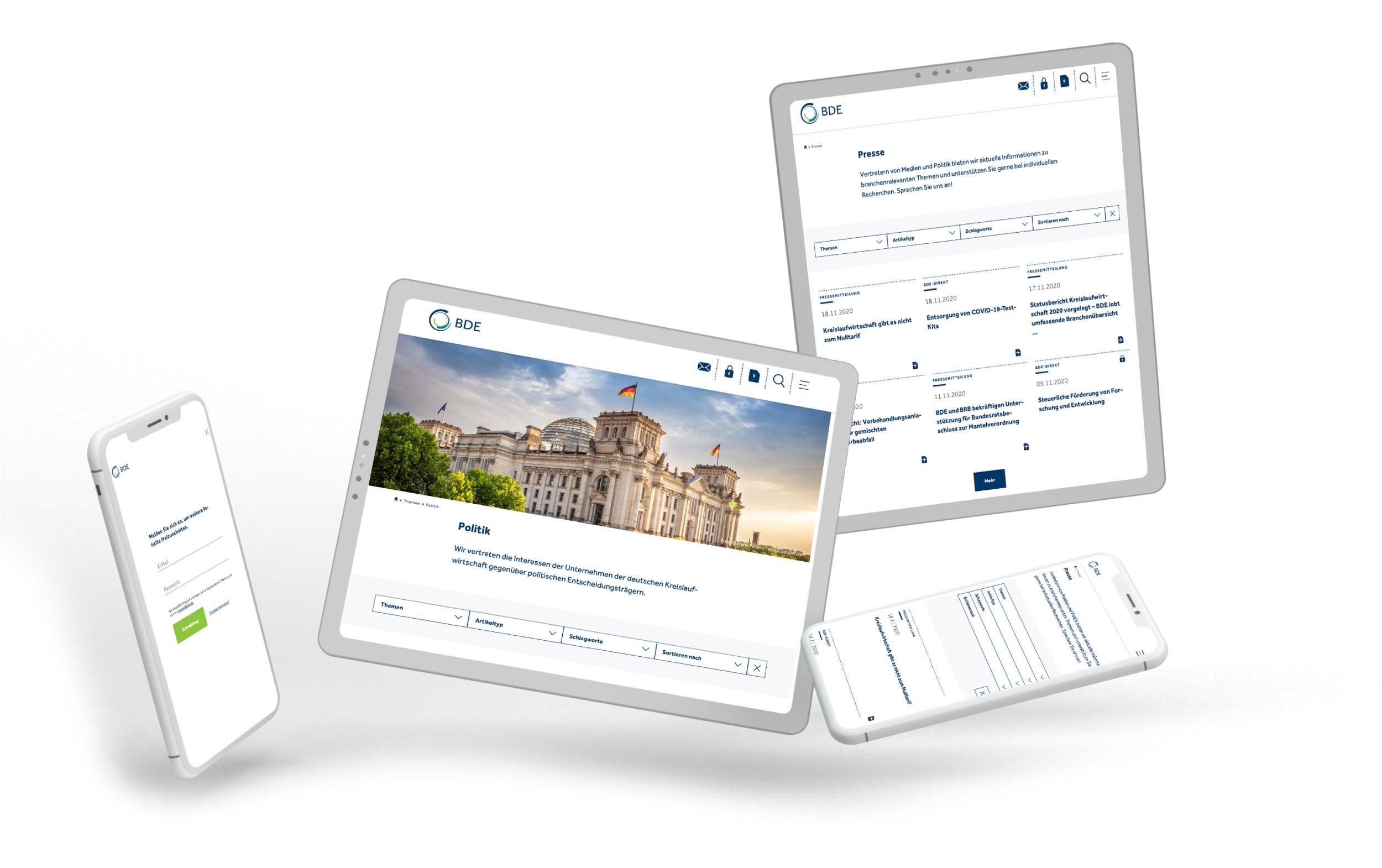 Die neue Website des BDE, responsive Ansichten auf Desktop, iPad und mobil.