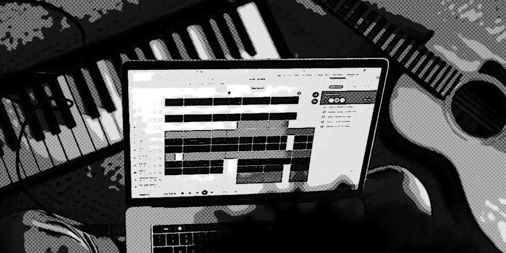A tableau of a piano keyboard, guitar, and a digital audio workstation