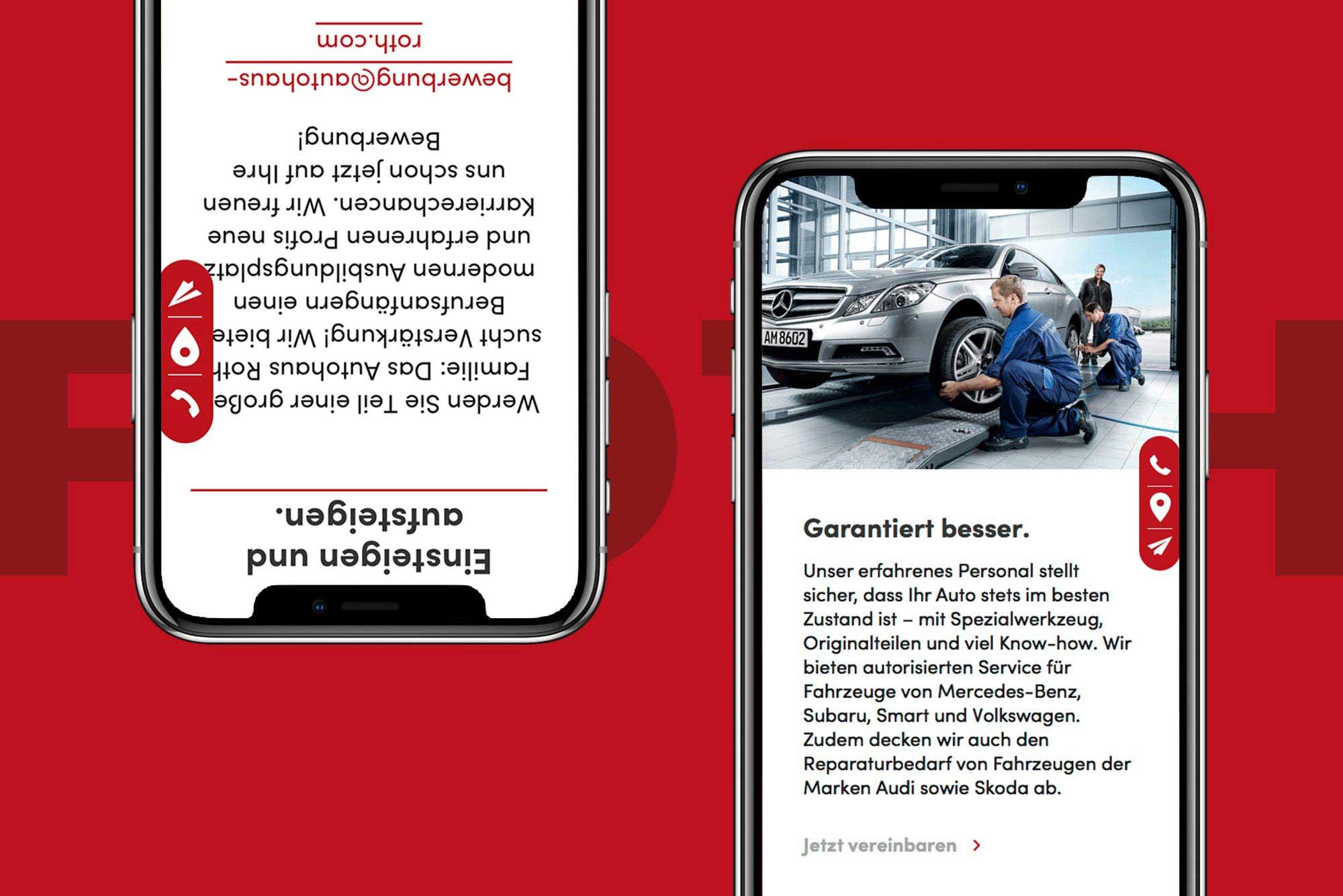 """_IMMER IN BEWEGUNG BLEIBEN Das Autohaus Roth ist bekannt als Vier-Marken-Autohaus. Bubori verpasste dem Traditionsunternehmen ein digitales Facelift und arbeitete die Qualitäten der einzelnen Fahrzeug-Marken gezielt heraus, ganz nach dem Motto """"Vertrauen ist gut. Roth ist besser"""". Unser Anspruch war dabei, nicht nur optisch zu entzücken, sondern auch wörtlich. Ästhetisch, qualitativ und auffällig."""