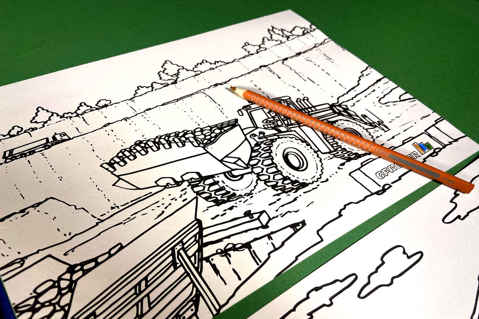 """GESTALTE DEINE EIGENE BAUSTELLE. Individuelle Illustrationen, vervollständigen ein einzigartiges Malbuch abgestimmt auf die alltäglichen Arbeiten der Firma Gfrörer. Nicht nur für die """"Kleinen"""" ein voller Spaß."""