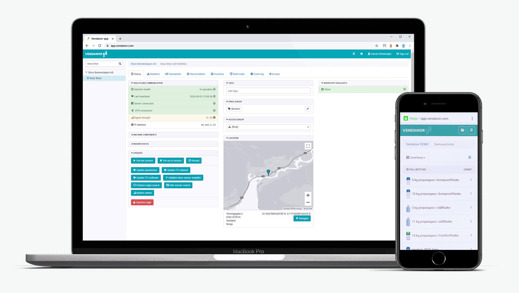 Vendanor Connect på desktop-pc og mobil