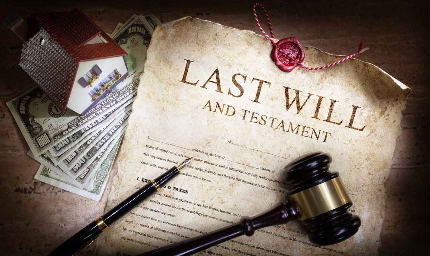 Image of a will and gavel representing wills and estate planning