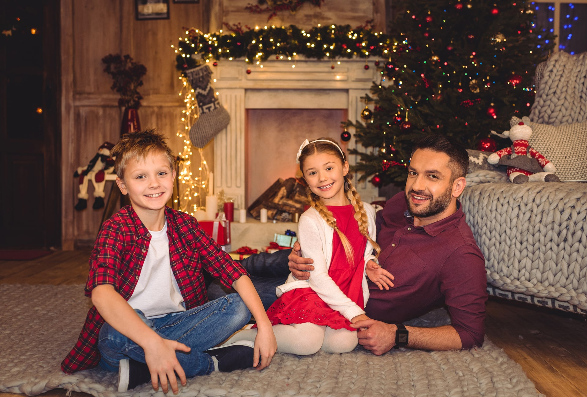 Divorced father with children at the holidays
