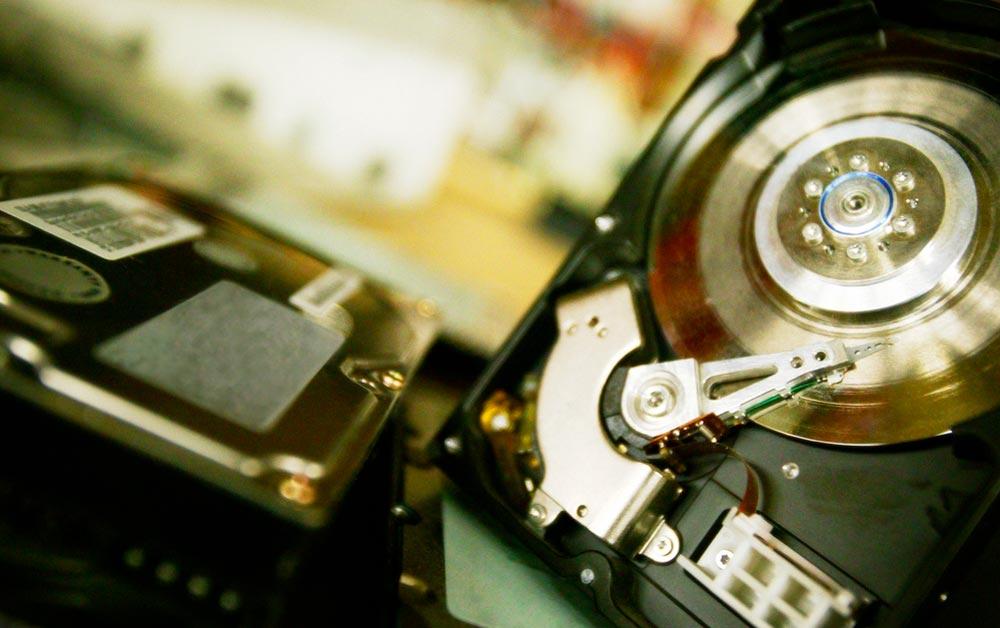 Up close image of computer hard drives