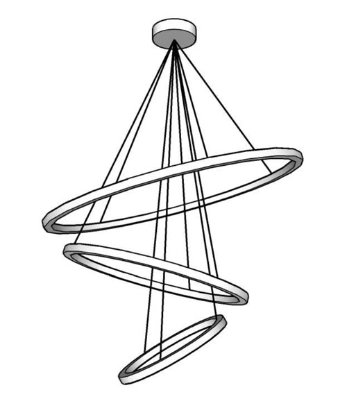 Technical drawing of large lamp