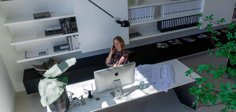 Liane calling in Studio-L office