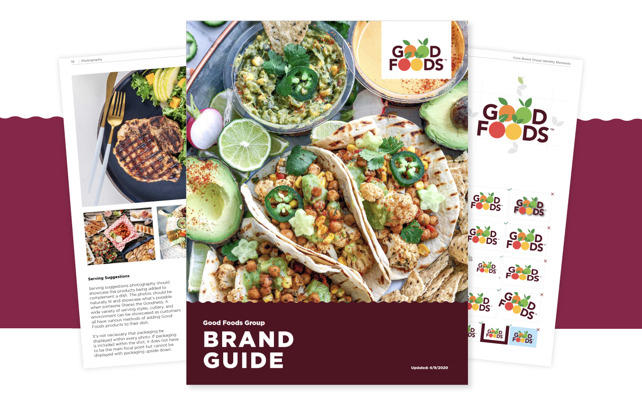 Image of a brand guide showcasing food
