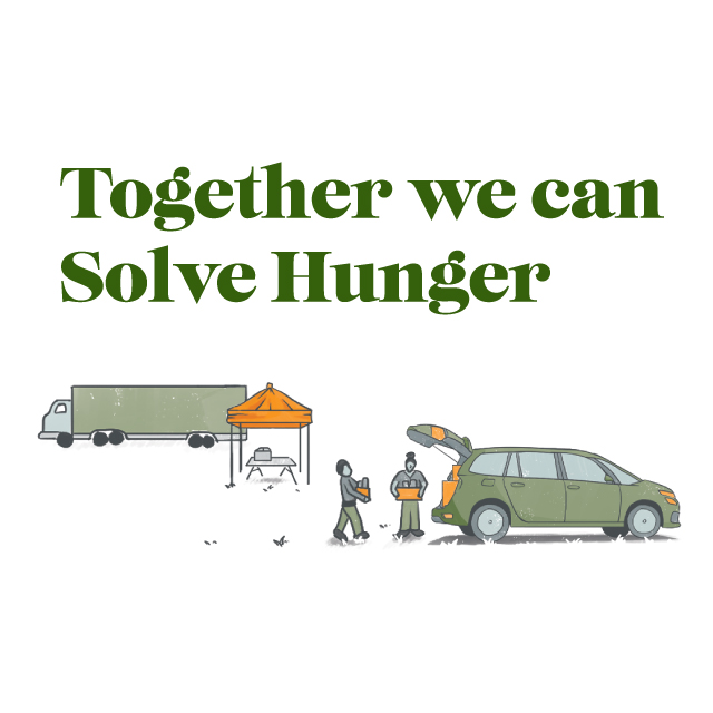 Together we can solve hunger. Food bank loading food into someone's car.