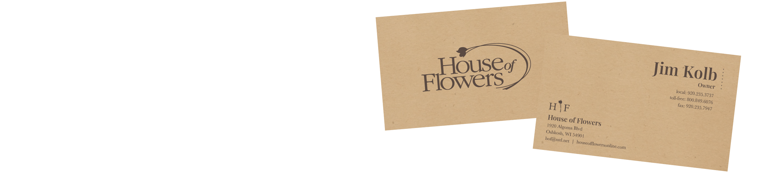 House of Flowers business cards.