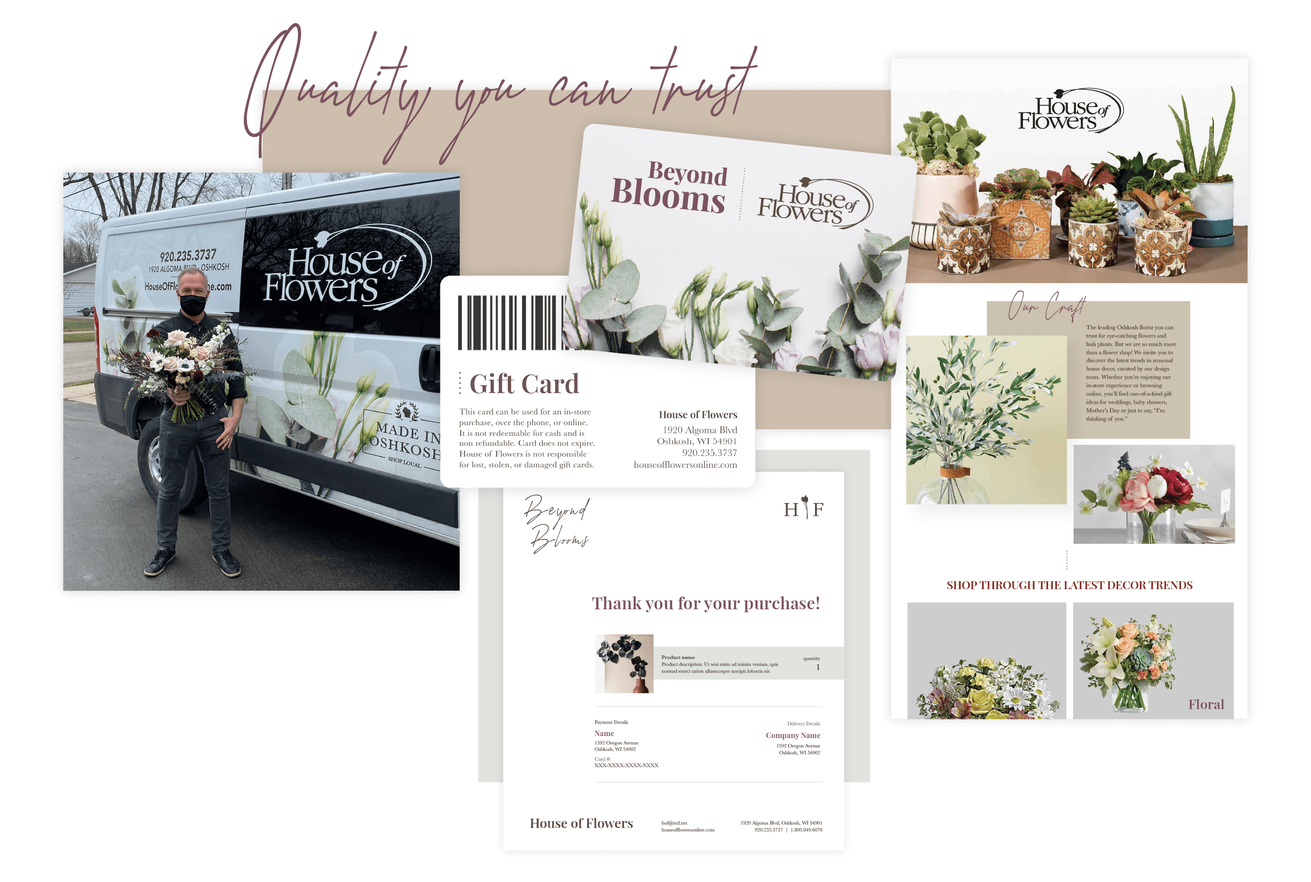 Collage of House of Flowers collateral: Delivery van, gift cards, email template.