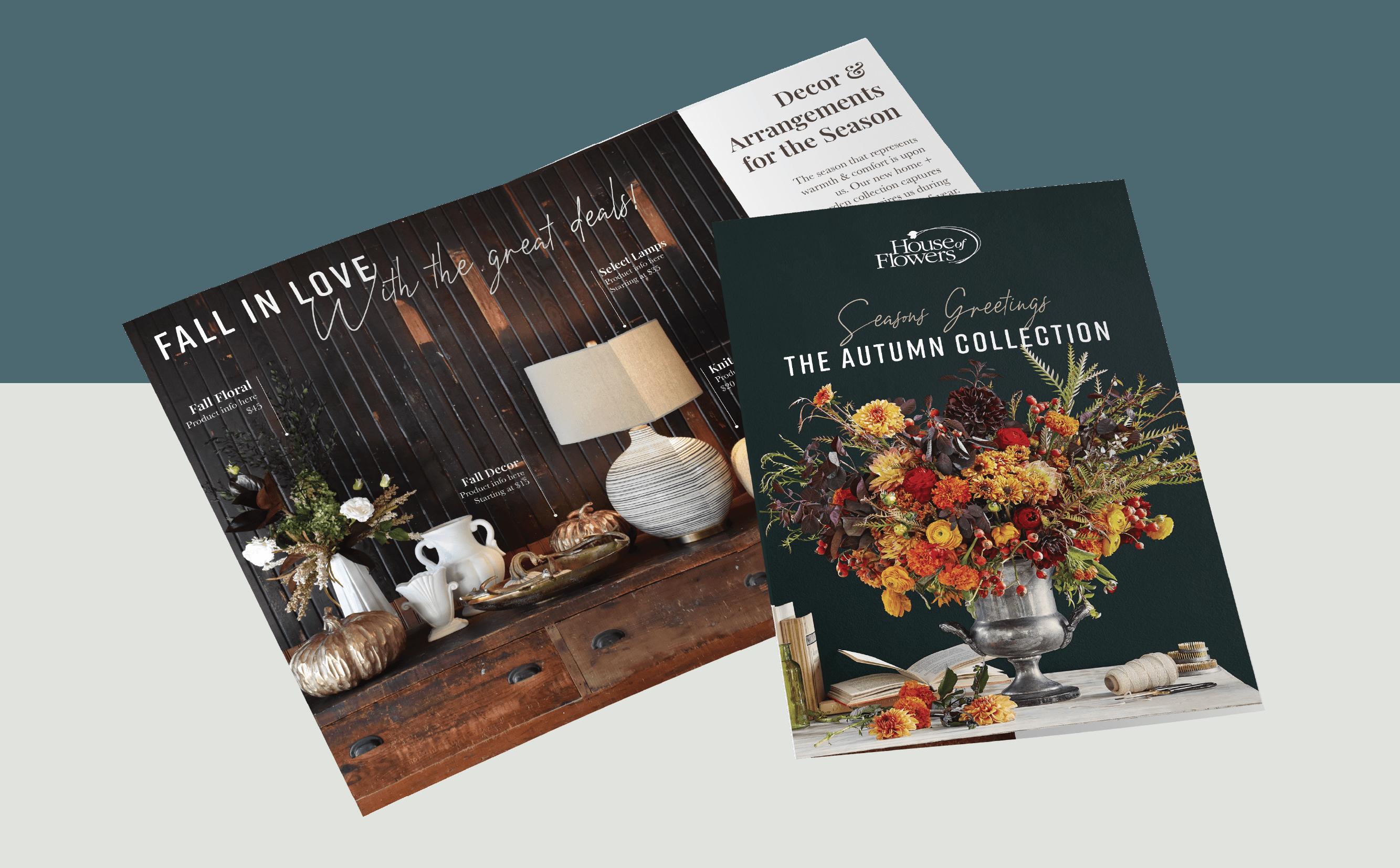 House of Flowers catalog booklet mockup.
