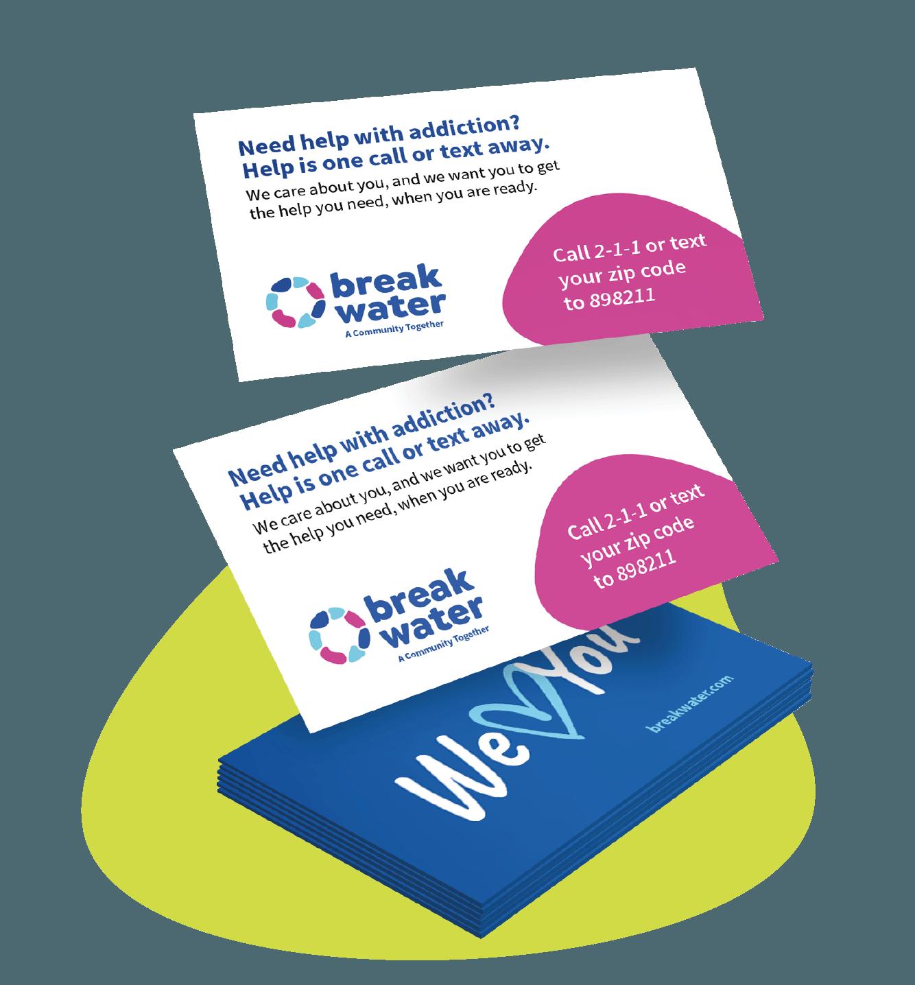 Breakwater community hotline business cards.