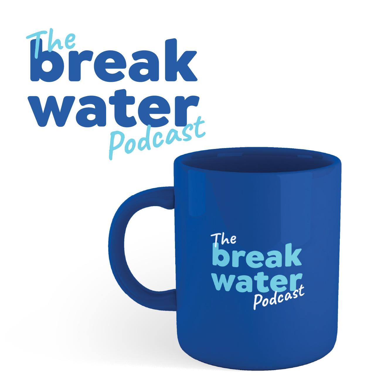 Breakwater Podcast logo with blue mug.