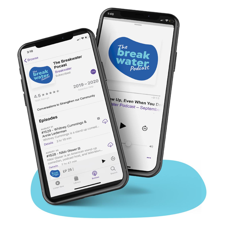 Breakwater podcast phone mockups.