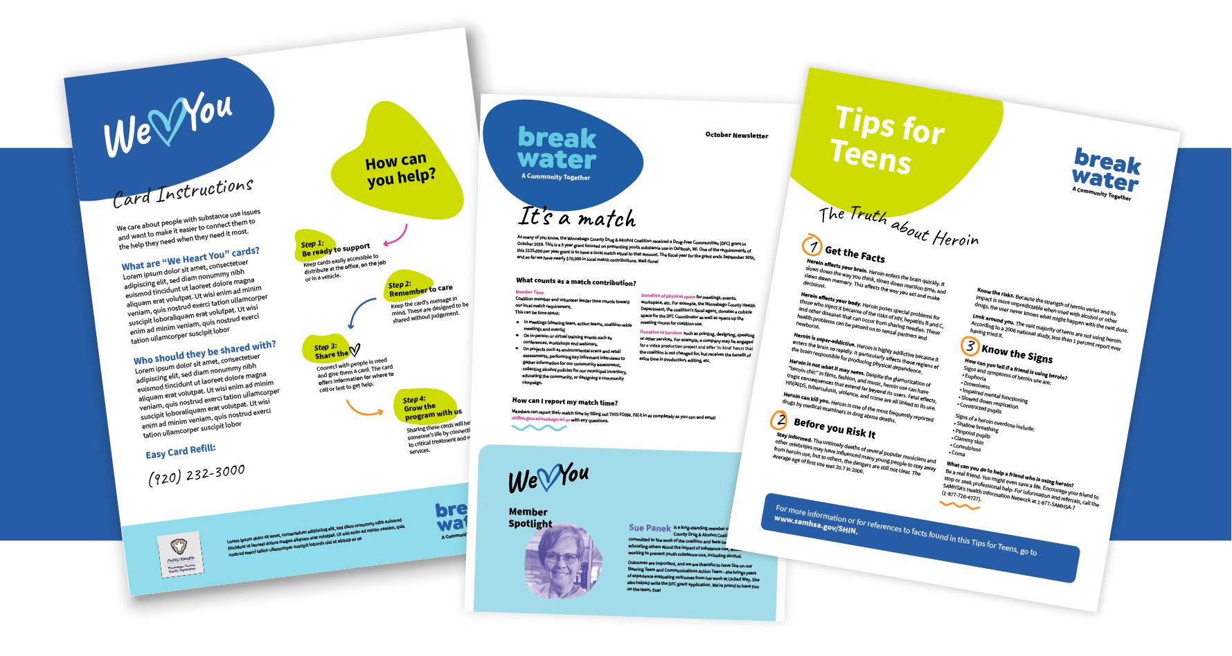 Breakwater branded flyers.
