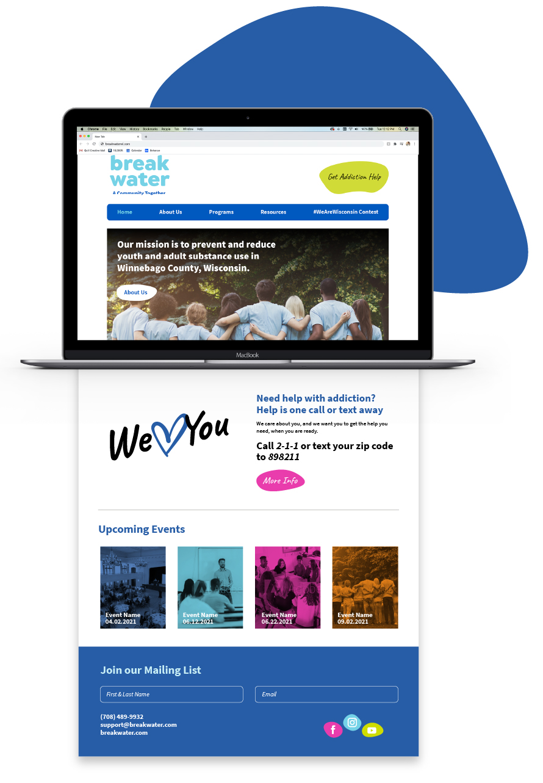 Breakwater website home page mockup.