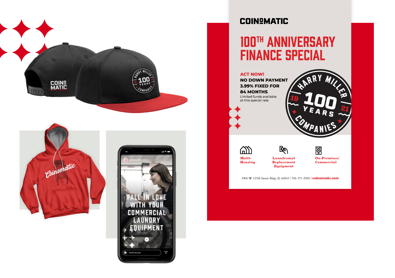 Harry Miller Companies collage of collateral (Hat, sweatshirt, flyer, social media)
