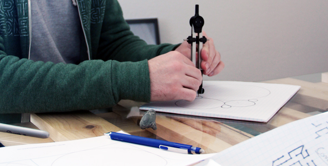 Employee working on sketches