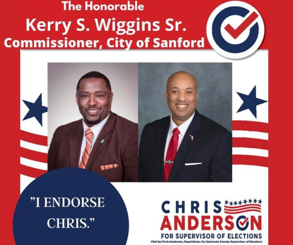 The Honorable Kerry S. Wiggins Sr., Commissions of the City of Sanford endorsement