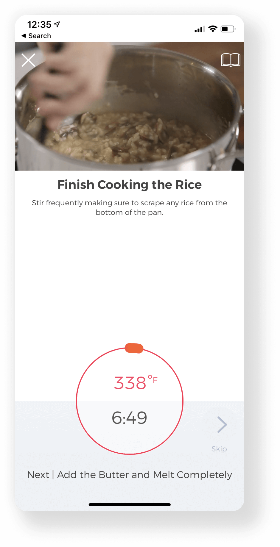 smart phone screen showing hestan cue app guided recipe cooking