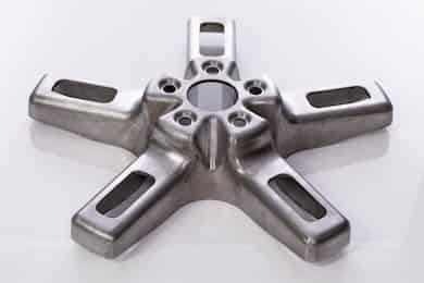 """20"""" wheel rim machined out of a 5"""" solid steel plate using 3D milling"""