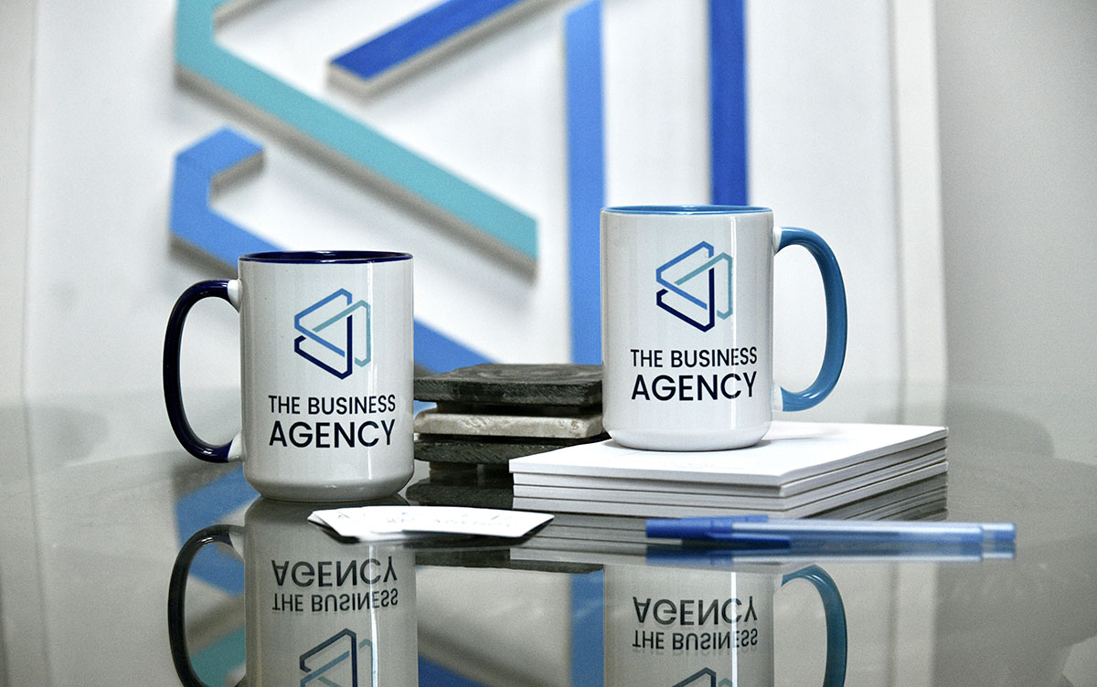 The Business Agency mugs and logo